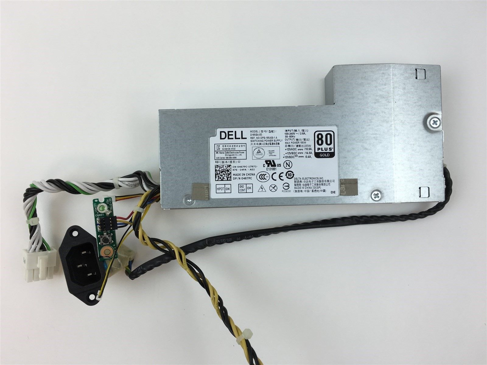 Dell AIO Inspiron 23 5348 Optiplex 9030 D185EA-00 185W Power Supply 467PC 0467PC