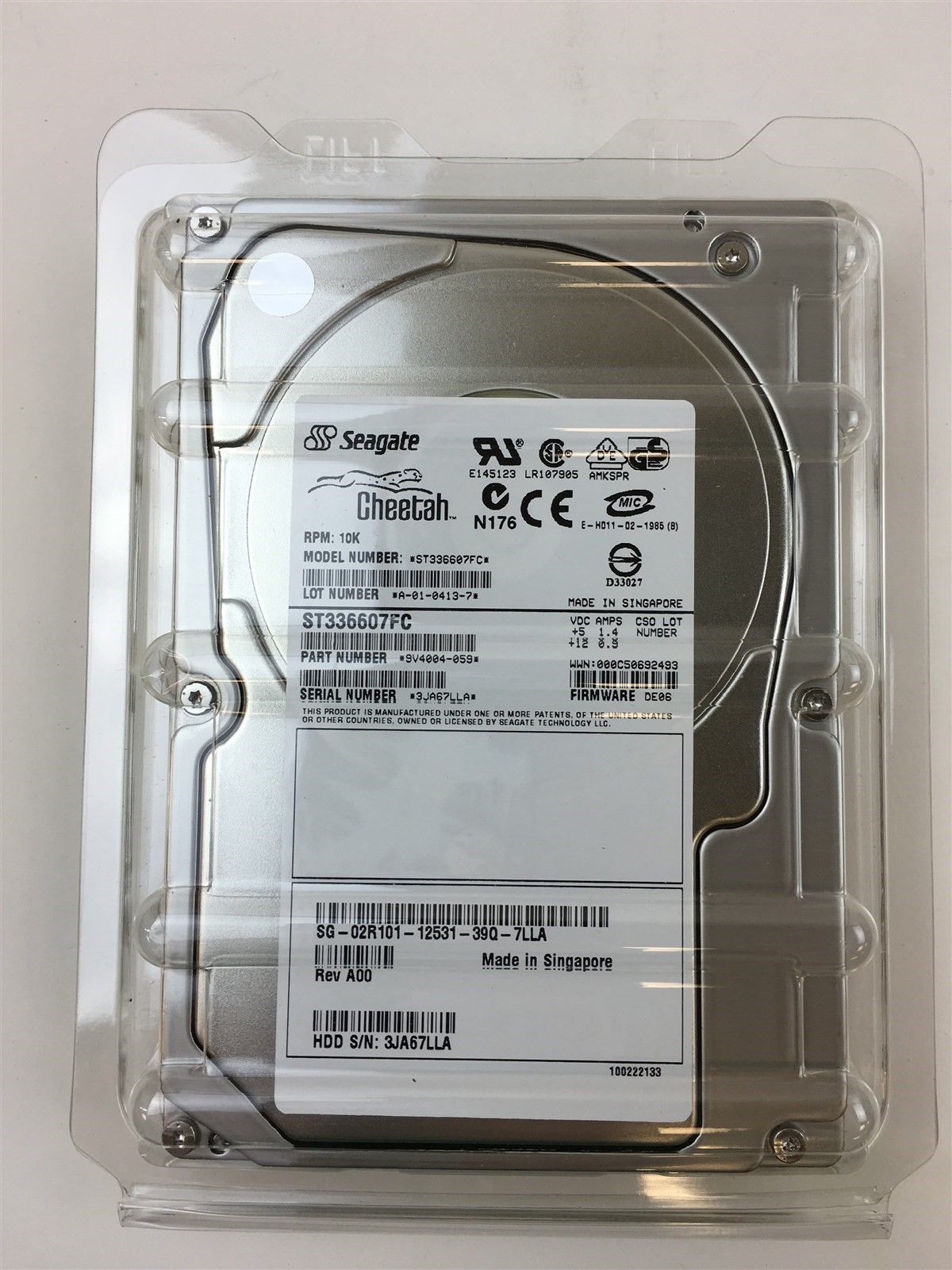 Seagate Cheehah N176 9V4004-059 RPM 10K 36Gb Internal Hard Drive 2R101 02R101