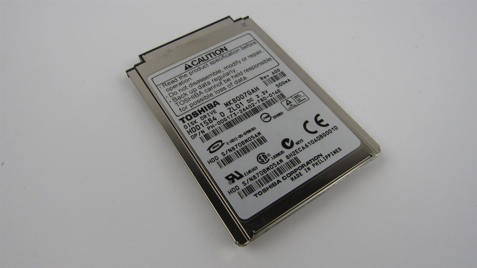 "Dell MK8007GAH 80GB 4200RPM 1.8"" ZIF/CF Laptop Hard Drive DG173 0DG173"