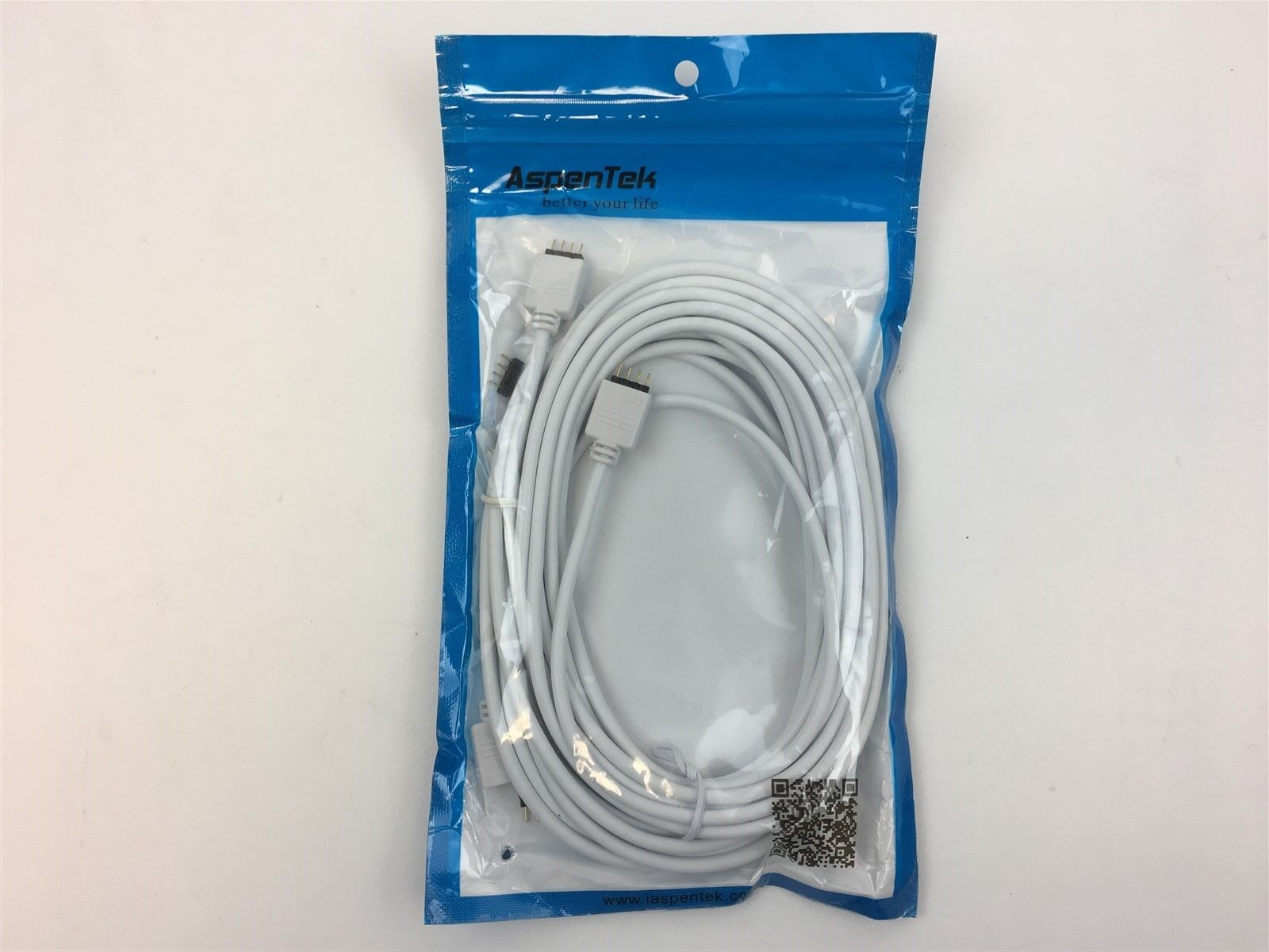 AspenTek DC 12v RGB LED Strip Light Connection Cable 4-Pin for 3528 5050 2.5m
